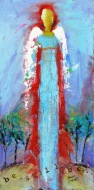 """(c) Dawn Corner 2013 Angel """"Be Still Be..."""" 12"""" x 24"""" Acrylic on Canvas"""