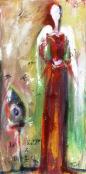 """(c) Dawn Corner 2013 Angel """"Rise & Rest"""" 12"""" x 24"""" Acrylic on Canvas"""