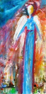 """(c) Dawn Corner Angel """"Be Ready"""" 12"""" x 24"""" Acrylic on Canvas"""
