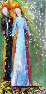 "(c) Dawn Corner 2013 Couple ""Dance"" 12"" x 24"" Acrylic on Canvas"