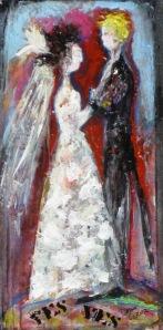 "(c) Dawn Corner 2013 Couple ""Yes Yes"" 12"" x 24"" Acrylic on Canvas"