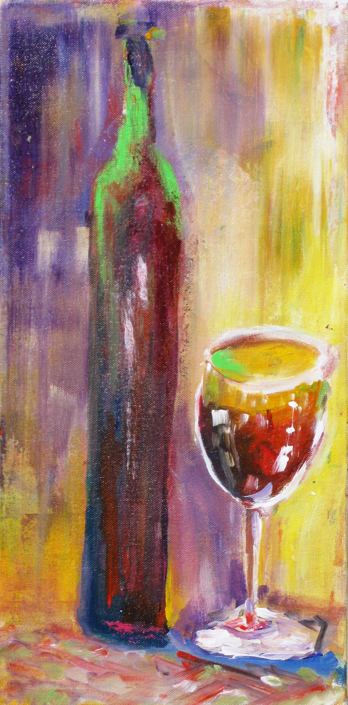 New Paintings Wine Bottle And Glass Art By Dawn Corner