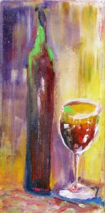 "(c) Dawn Corner 2013 Wine 1 10"" x 20"" Acrylic on Canvas"