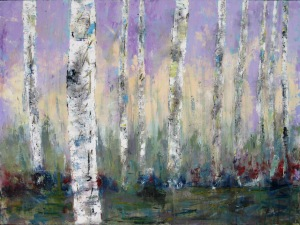 "(c) Dawn Corner 2014 Birch Trees 36"" x 48"" Acrylic on Canvas"