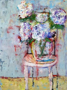 "(c) Dawn Corner 2014 Hydrangeas on Chair 30"" x 40"" Acrylic on Canvas"